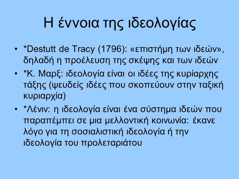 Η έννοια της ιδεολογίας *Destutt de Tracy (1796): «επιστήμη των ιδεών», δηλαδή η προέλευση της σκέψης και των ιδεών *Κ.