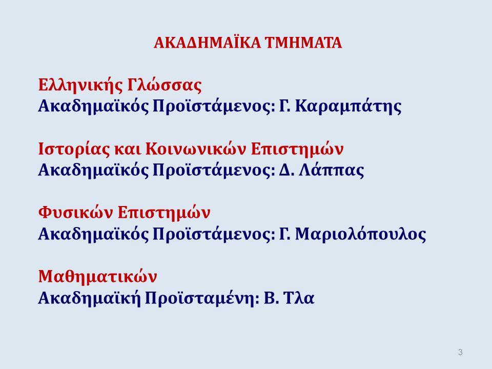 ΑΚΑΔΗΜΑΪΚΑ ΤΜΗΜΑΤΑ Ελληνικής Γλώσσας Ακαδημαϊκός Προϊστάμενος: Γ. Καραμπάτης Ιστορίας και Κοινωνικών Επιστημών Ακαδημαϊκός Προϊστάμενος: Δ. Λάππας Φυσ