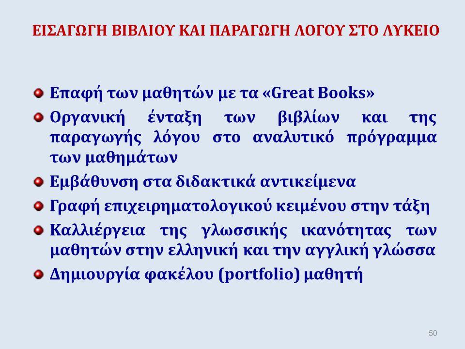 ΕΙΣΑΓΩΓΗ ΒΙΒΛΙΟΥ ΚΑΙ ΠΑΡΑΓΩΓΗ ΛΟΓΟΥ ΣΤΟ ΛΥΚΕΙΟ Επαφή των μαθητών με τα «Great Books» Οργανική ένταξη των βιβλίων και της παραγωγής λόγου στο αναλυτικό