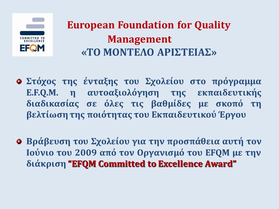 European Foundation for Quality Management «ΤΟ ΜΟΝΤΕΛΟ ΑΡΙΣΤΕΙΑΣ» Στόχος της ένταξης του Σχολείου στο πρόγραμμα Ε.F.Q.M. η αυτοαξιολόγηση της εκπαιδευ