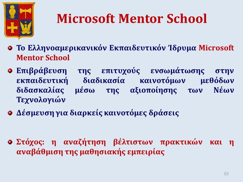 Microsoft Mentor School Το Ελληνοαμερικανικόν Εκπαιδευτικόν Ίδρυμα Microsoft Mentor School Επιβράβευση της επιτυχούς ενσωμάτωσης στην εκπαιδευτική διαδικασία καινοτόμων μεθόδων διδασκαλίας μέσω της αξιοποίησης των Νέων Τεχνολογιών Δέσμευση για διαρκείς καινοτόμες δράσεις Στόχος: η αναζήτηση βέλτιστων πρακτικών και η αναβάθμιση της μαθησιακής εμπειρίας 53