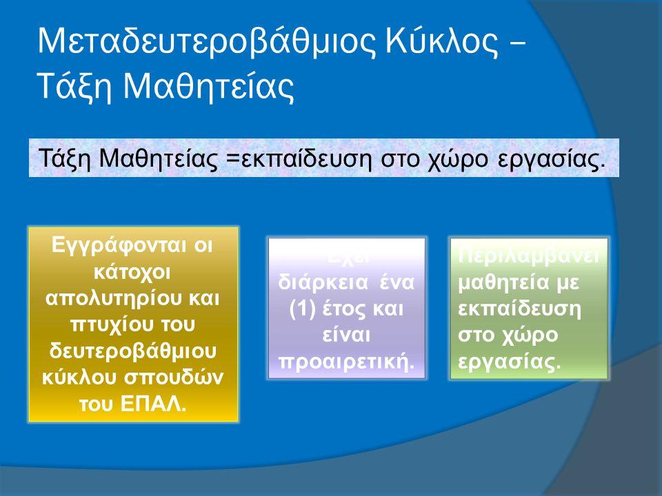 Μεταδευτεροβάθμιος Κύκλος – Τάξη Μαθητείας Τάξη Μαθητείας =εκπαίδευση στο χώρο εργασίας.
