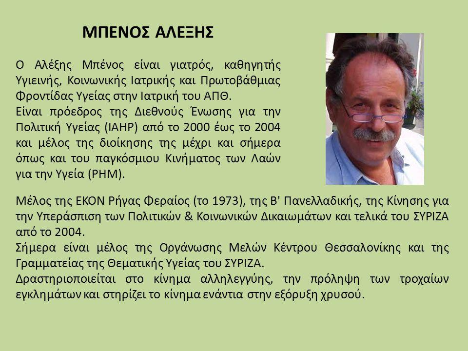 Μέλος της ΕΚΟΝ Ρήγας Φεραίος (το 1973), της Β Πανελλαδικής, της Κίνησης για την Υπεράσπιση των Πολιτικών & Κοινωνικών Δικαιωμάτων και τελικά του ΣΥΡΙΖΑ από το 2004.