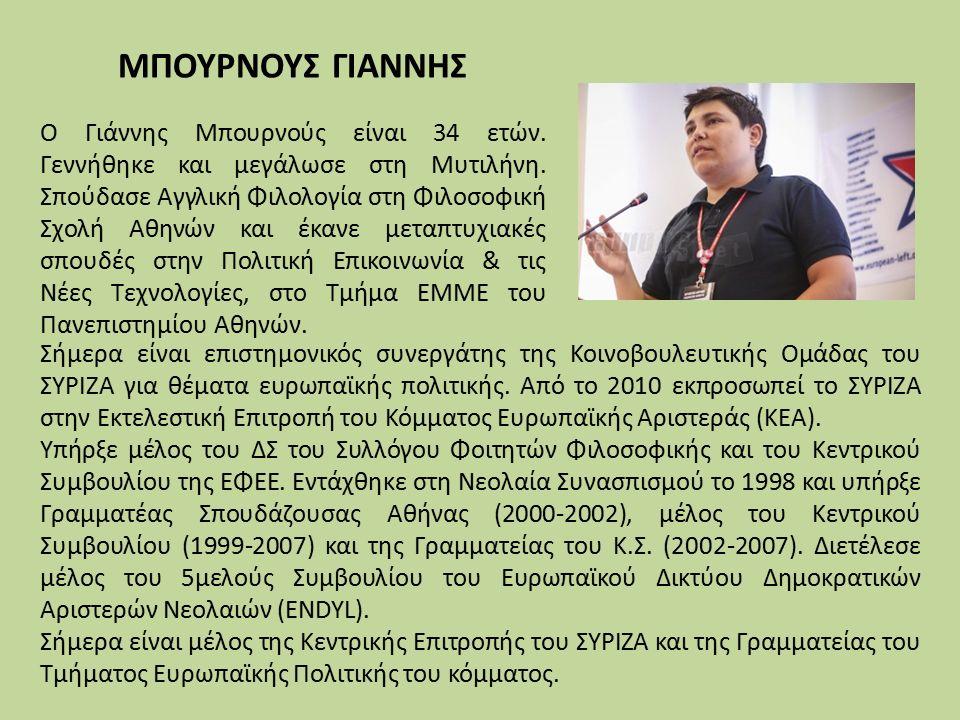 Σήμερα είναι επιστημονικός συνεργάτης της Κοινοβουλευτικής Ομάδας του ΣΥΡΙΖΑ για θέματα ευρωπαϊκής πολιτικής.