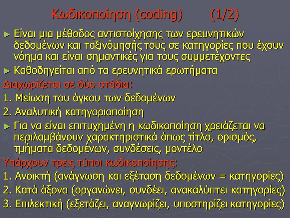 Κωδικοποίηση (coding) (1/2) ► Είναι μια μέθοδος αντιστοίχησης των ερευνητικών δεδομένων και ταξινόμησής τους σε κατηγορίες που έχουν νόημα και είναι σημαντικές για τους συμμετέχοντες ► Καθοδηγείται από τα ερευνητικά ερωτήματα Διαχωρίζεται σε δύο στάδια: 1.