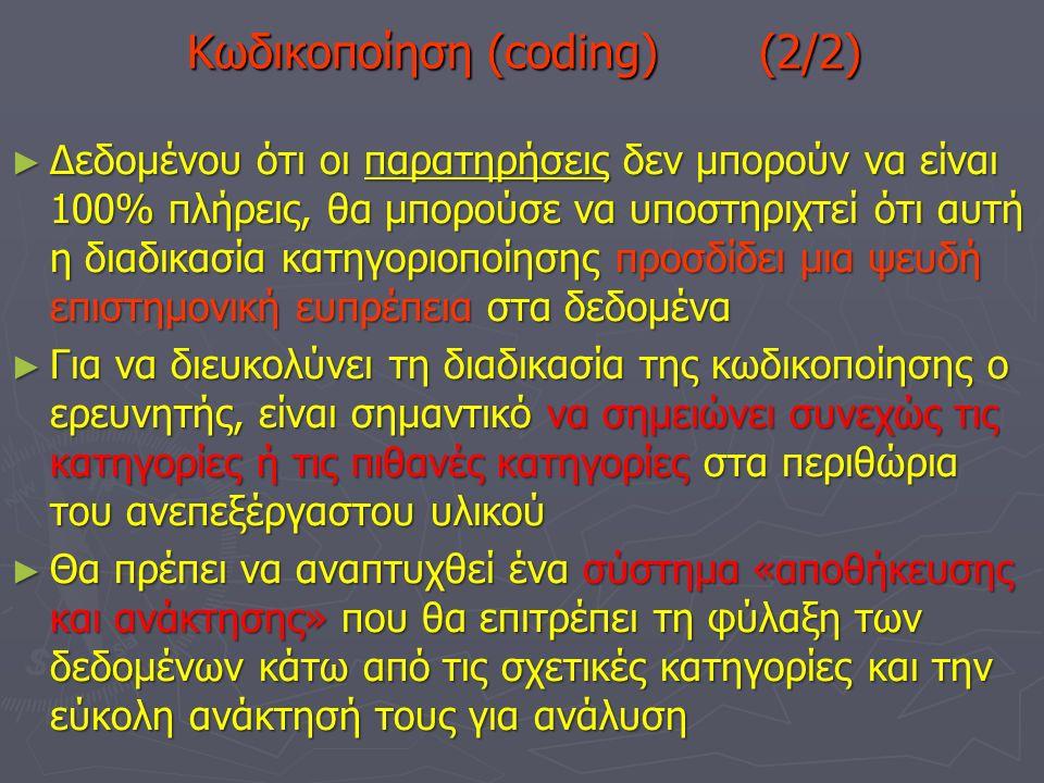 Κωδικοποίηση (coding) (2/2) ► Δεδομένου ότι οι παρατηρήσεις δεν μπορούν να είναι 100% πλήρεις, θα μπορούσε να υποστηριχτεί ότι αυτή η διαδικασία κατηγοριοποίησης προσδίδει μια ψευδή επιστημονική ευπρέπεια στα δεδομένα ► Για να διευκολύνει τη διαδικασία της κωδικοποίησης ο ερευνητής, είναι σημαντικό να σημειώνει συνεχώς τις κατηγορίες ή τις πιθανές κατηγορίες στα περιθώρια του ανεπεξέργαστου υλικού ► Θα πρέπει να αναπτυχθεί ένα σύστημα «αποθήκευσης και ανάκτησης» που θα επιτρέπει τη φύλαξη των δεδομένων κάτω από τις σχετικές κατηγορίες και την εύκολη ανάκτησή τους για ανάλυση