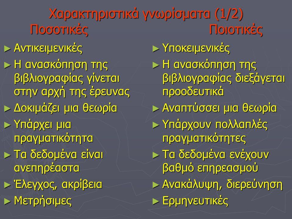 Χαρακτηριστικά γνωρίσματα (1/2) Ποσοτικές Ποιοτικές ►Α►Α►Α►Αντικειμενικές ►Η►Η►Η►Η ανασκόπηση της βιβλιογραφίας γίνεται στην αρχή της έρευνας ►Δ►Δ►Δ►Δοκιμάζει μια θεωρία ►Υ►Υ►Υ►Υπάρχει μια πραγματικότητα ►Τ►Τ►Τ►Τα δεδομένα είναι ανεπηρέαστα ►Έ►Έ►Έ►Έλεγχος, ακρίβεια ►Μ►Μ►Μ►Μετρήσιμες ►Υ►Υποκειμενικές ►Η►Η ανασκόπηση της βιβλιογραφίας διεξάγεται προοδευτικά ►Α►Αναπτύσσει μια θεωρία ►Υ►Υπάρχουν πολλαπλές πραγματικότητες ►Τ►Τα δεδομένα ενέχουν βαθμό επηρεασμού ►Α►Ανακάλυψη, διερεύνηση ►Ε►Ερμηνευτικές