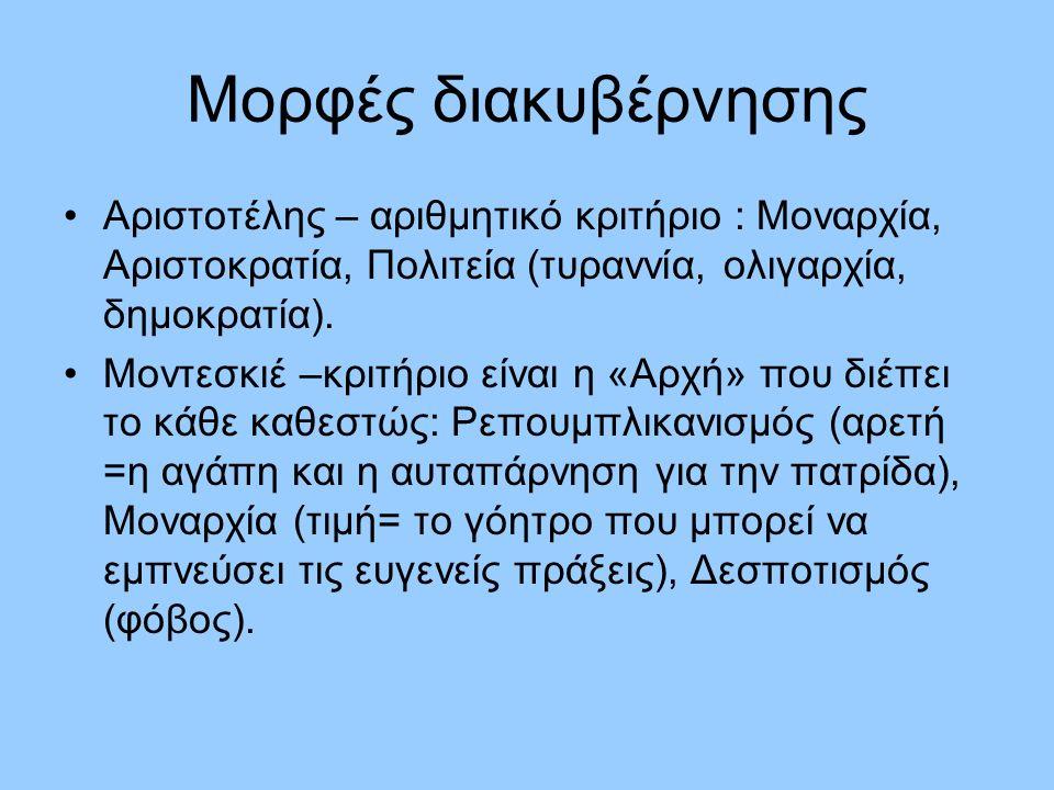 Μορφές διακυβέρνησης Αριστοτέλης – αριθμητικό κριτήριο : Μοναρχία, Αριστοκρατία, Πολιτεία (τυραννία, ολιγαρχία, δημοκρατία). Μοντεσκιέ –κριτήριο είναι