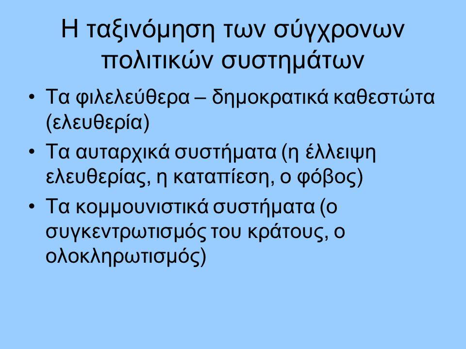 Η ταξινόμηση των σύγχρονων πολιτικών συστημάτων Τα φιλελεύθερα – δημοκρατικά καθεστώτα (ελευθερία) Τα αυταρχικά συστήματα (η έλλειψη ελευθερίας, η καταπίεση, ο φόβος) Τα κομμουνιστικά συστήματα (ο συγκεντρωτισμός του κράτους, ο ολοκληρωτισμός)