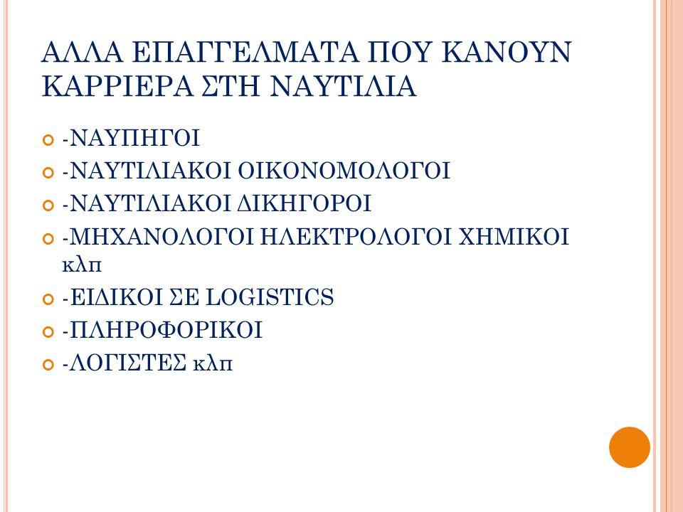 ΑΛΛΑ ΕΠΑΓΓΕΛΜΑΤΑ ΠΟΥ ΚΑΝΟΥΝ ΚΑΡΡΙΕΡΑ ΣΤΗ ΝΑΥΤΙΛΙΑ -ΝΑΥΠΗΓΟΙ -ΝΑΥΤΙΛΙΑΚΟΙ ΟΙΚΟΝΟΜΟΛΟΓΟΙ -ΝΑΥΤΙΛΙΑΚΟΙ ΔΙΚΗΓΟΡΟΙ -ΜΗΧΑΝΟΛΟΓΟΙ ΗΛΕΚΤΡΟΛΟΓΟΙ ΧΗΜΙΚΟΙ κλπ -ΕΙΔΙΚΟΙ ΣΕ LOGISTICS -ΠΛΗΡΟΦΟΡΙΚΟΙ -ΛΟΓΙΣΤΕΣ κλπ