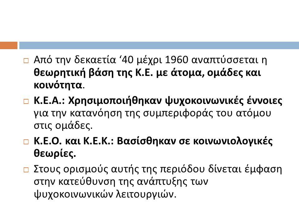  Από την δεκαετία '40 μέχρι 1960 αναπτύσσεται η θεωρητική βάση της Κ.
