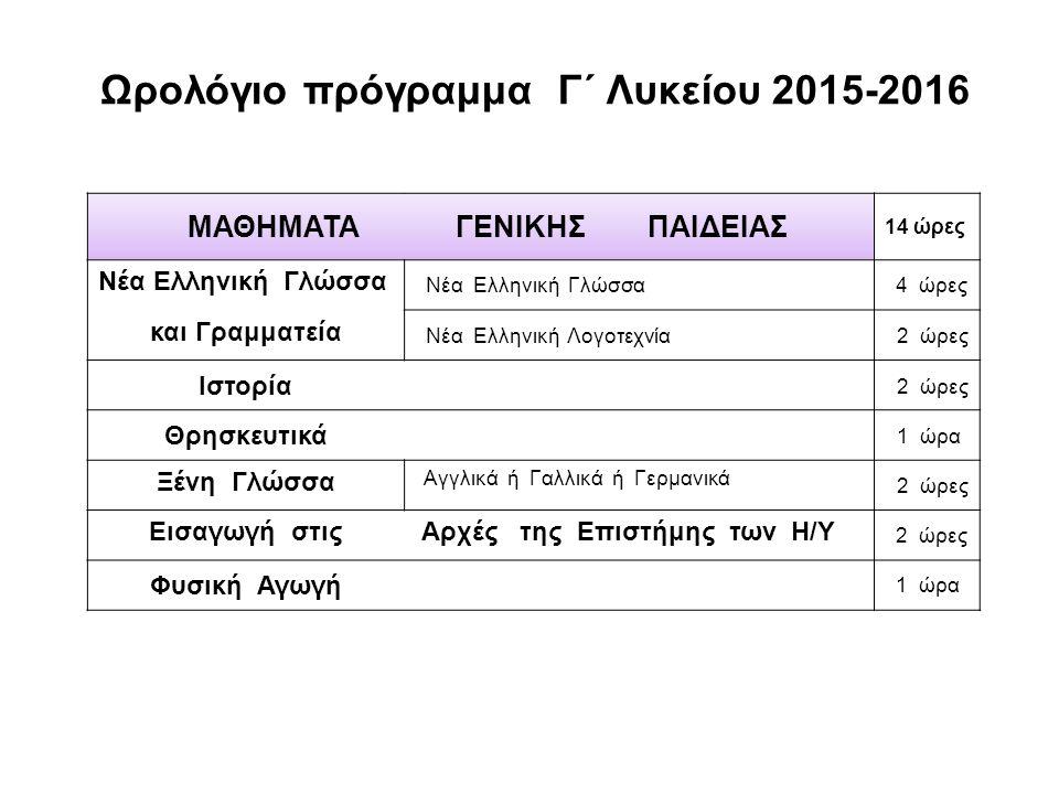 Ωρολόγιο πρόγραμμα Γ΄ Λυκείου 2015-2016 ΜΑΘΗΜΑΤΑ ΓΕΝΙΚΗΣ ΠΑΙΔΕΙΑΣ 14 ώρες Νέα Ελληνική Γλώσσα 4 ώρες και Γραμματεία Νέα Ελληνική Λογοτεχνία 2 ώρες Ιστορία 2 ώρες Θρησκευτικά 1 ώρα Ξένη Γλώσσα Αγγλικά ή Γαλλικά ή Γερμανικά 2 ώρες Εισαγωγή στις Αρχές της Επιστήμης των Η/Υ 2 ώρες Φυσική Αγωγή 1 ώρα