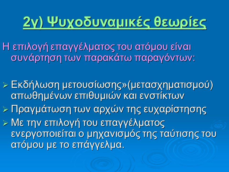 2γ) Ψυχοδυναμικές θεωρίες Η επιλογή επαγγέλματος του ατόμου είναι συνάρτηση των παρακάτω παραγόντων:  Εκδήλωση μετουσίωσης»(μετασχηματισμού) απωθημένων επιθυμιών και ενστίκτων  Πραγμάτωση των αρχών της ευχαρίστησης  Με την επιλογή του επαγγέλματος ενεργοποιείται ο μηχανισμός της ταύτισης του ατόμου με το επάγγελμα.