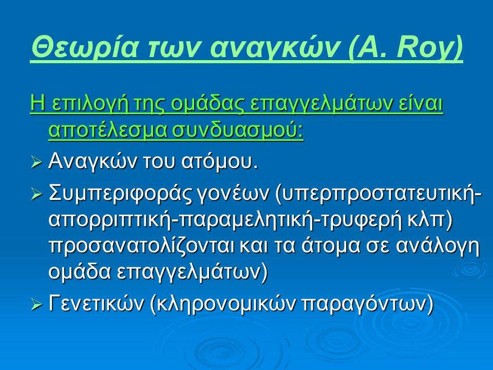 Θεωρία των αναγκών (A. Roy) Η επιλογή της ομάδας επαγγελμάτων είναι αποτέλεσμα συνδυασμού:  Αναγκών του ατόμου.  Συμπεριφοράς γονέων (υπερπροστατευτ