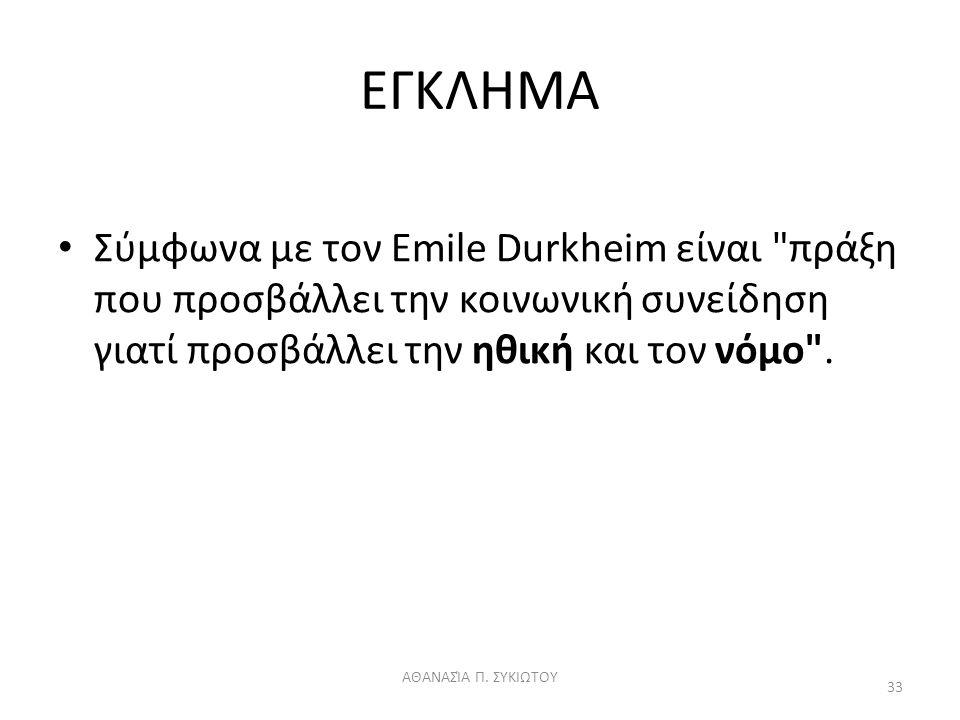 ΕΓΚΛΗΜΑ Σύμφωνα με τον Emile Durkheim είναι πράξη που προσβάλλει την κοινωνική συνείδηση γιατί προσβάλλει την ηθική και τον νόμο .