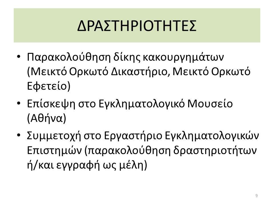 ΔΡΑΣΤΗΡΙΟΤΗΤΕΣ Παρακολούθηση δίκης κακουργημάτων (Μεικτό Ορκωτό Δικαστήριο, Μεικτό Ορκωτό Εφετείο) Επίσκεψη στο Εγκληματολογικό Μουσείο (Αθήνα) Συμμετοχή στο Εργαστήριο Εγκληματολογικών Επιστημών (παρακολούθηση δραστηριοτήτων ή/και εγγραφή ως μέλη) 9