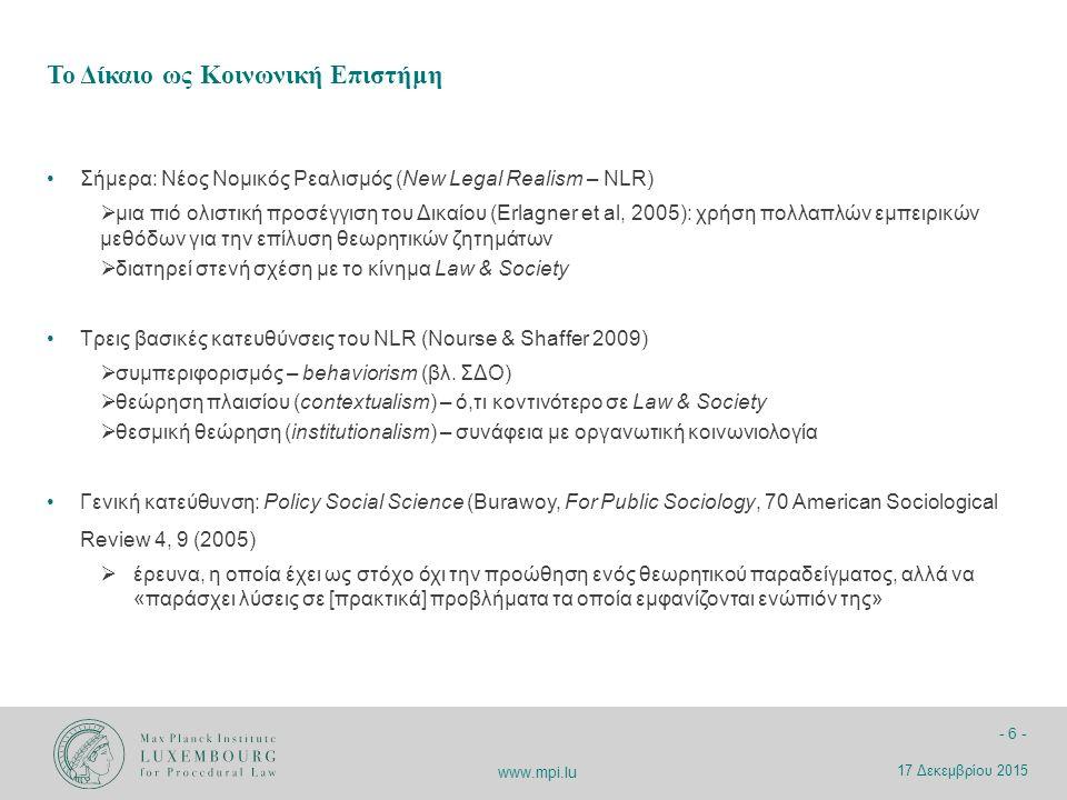 www.mpi.lu - 27 - Συμπεριφορικές Δημόσιες Πολιτικές στο Πεδίο της Ενέργειας Μοντέλα Μονάδων Ώθησης Ένα Γενικό Εργαλείο του Διοικητικού Δικαίου Συμπεριφορικές Δημόσιες Πολιτικές και Εφαρμογή τους 17 Δεκεμβρίου 2015