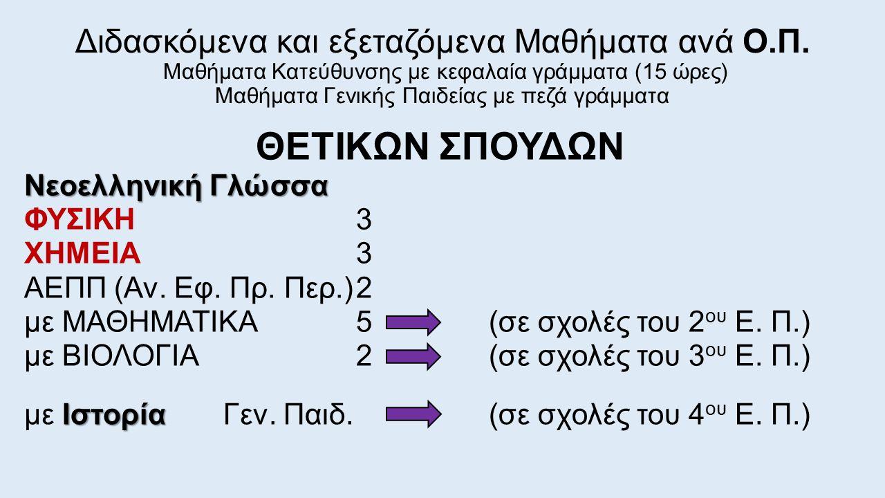 ΘΕΤΙΚΩΝ ΣΠΟΥΔΩΝ Νεοελληνική Γλώσσα ΦΥΣΙΚΗ3 ΧΗΜΕΙΑ3 ΑΕΠΠ (Αν. Εφ. Πρ. Περ.)2 με ΜΑΘΗΜΑΤΙΚΑ5(σε σχολές του 2 ου Ε. Π.) με ΒΙΟΛΟΓΙΑ2(σε σχολές του 3 ου Ε