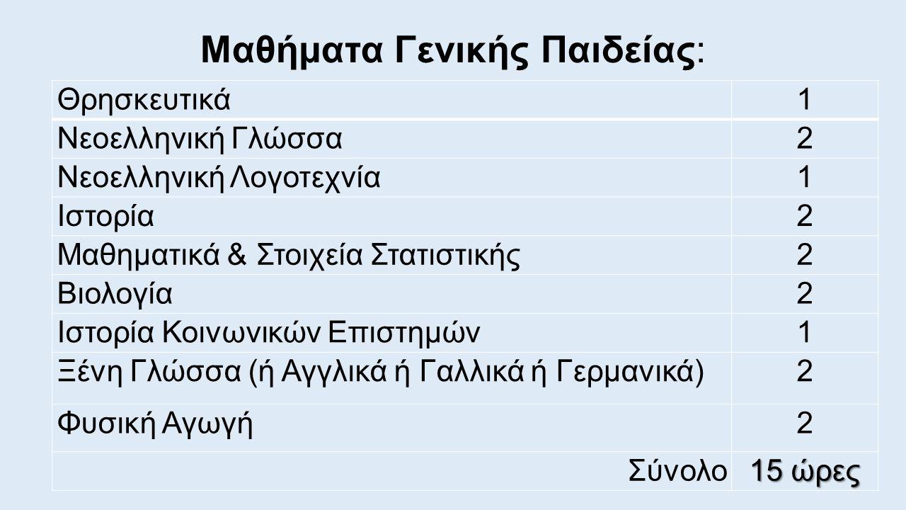 Μαθήματα Γενικής Παιδείας: Θρησκευτικά1 Νεοελληνική Γλώσσα2 Νεοελληνική Λογοτεχνία1 Ιστορία2 Μαθηματικά & Στοιχεία Στατιστικής2 Βιολογία2 Ιστορία Κοινωνικών Επιστημών1 Ξένη Γλώσσα (ή Αγγλικά ή Γαλλικά ή Γερμανικά)2 Φυσική Αγωγή2 Σύνολο 15 ώρες