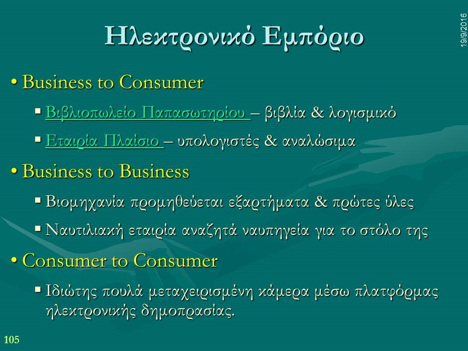 105 19/9/2016 Ηλεκτρονικό Εμπόριο Business to ConsumerBusiness to Consumer  Βιβλιοπωλείο Παπασωτηρίου – βιβλία & λογισμικό Βιβλιοπωλείο Παπασωτηρίου Βιβλιοπωλείο Παπασωτηρίου  Εταιρία Πλαίσιο – υπολογιστές & αναλώσιμα Εταιρία Πλαίσιο Εταιρία Πλαίσιο Business to BusinessBusiness to Business  Βιομηχανία προμηθεύεται εξαρτήματα & πρώτες ύλες  Ναυτιλιακή εταιρία αναζητά ναυπηγεία για το στόλο της Consumer to ConsumerConsumer to Consumer  Ιδιώτης πουλά μεταχειρισμένη κάμερα μέσω πλατφόρμας ηλεκτρονικής δημοπρασίας.