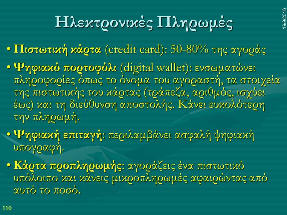 110 19/9/2016 Ηλεκτρονικές Πληρωμές Πιστωτική κάρτα (credit card): 50-80% της αγοράςΠιστωτική κάρτα (credit card): 50-80% της αγοράς Ψηφιακό πορτοφόλι (digital wallet): ενσωματώνει πληροφορίες όπως το όνομα του αγοραστή, τα στοιχεία της πιστωτικής του κάρτας (τράπεζα, αριθμός, ισχύει έως) και τη διεύθυνση αποστολής.