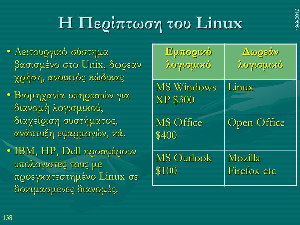 138 19/9/2016 Η Περίπτωση του Linux Λειτουργικό σύστημα βασισμένο στο Unix, δωρεάν χρήση, ανοικτός κώδικαςΛειτουργικό σύστημα βασισμένο στο Unix, δωρεάν χρήση, ανοικτός κώδικας Βιομηχανία υπηρεσιών για διανομή λογισμικού, διαχείριση συστήματος, ανάπτυξη εφαρμογών, κά.Βιομηχανία υπηρεσιών για διανομή λογισμικού, διαχείριση συστήματος, ανάπτυξη εφαρμογών, κά.