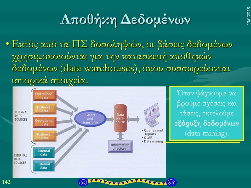 142 19/9/2016 Αποθήκη Δεδομένων Εκτός από τα ΠΣ δοσοληψιών, οι βάσεις δεδομένων χρησιμοποιούνται για την κατασκευή αποθηκών δεδομένων (data warehouses), όπου συσσωρεύονται ιστορικά στοιχεία.Εκτός από τα ΠΣ δοσοληψιών, οι βάσεις δεδομένων χρησιμοποιούνται για την κατασκευή αποθηκών δεδομένων (data warehouses), όπου συσσωρεύονται ιστορικά στοιχεία.