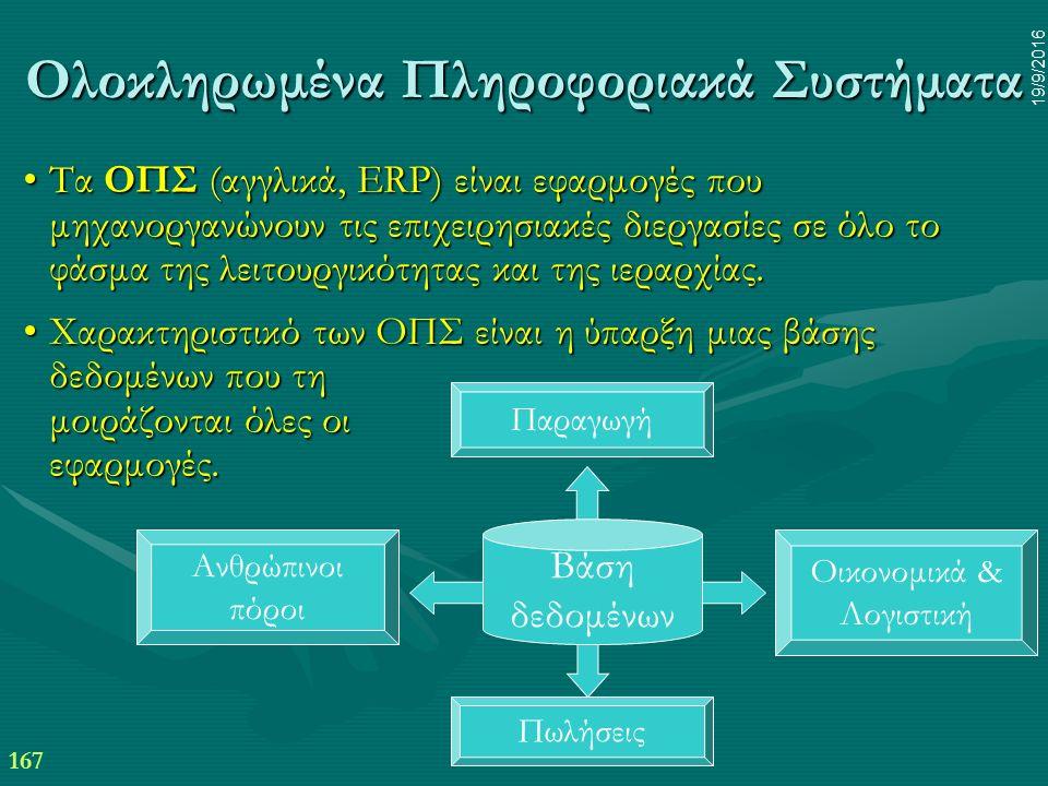 167 19/9/2016 Ολοκληρωμένα Πληροφοριακά Συστήματα Τα ΟΠΣ (αγγλικά, ERP) είναι εφαρμογές που μηχανοργανώνουν τις επιχειρησιακές διεργασίες σε όλο το φάσμα της λειτουργικότητας και της ιεραρχίας.Τα ΟΠΣ (αγγλικά, ERP) είναι εφαρμογές που μηχανοργανώνουν τις επιχειρησιακές διεργασίες σε όλο το φάσμα της λειτουργικότητας και της ιεραρχίας.