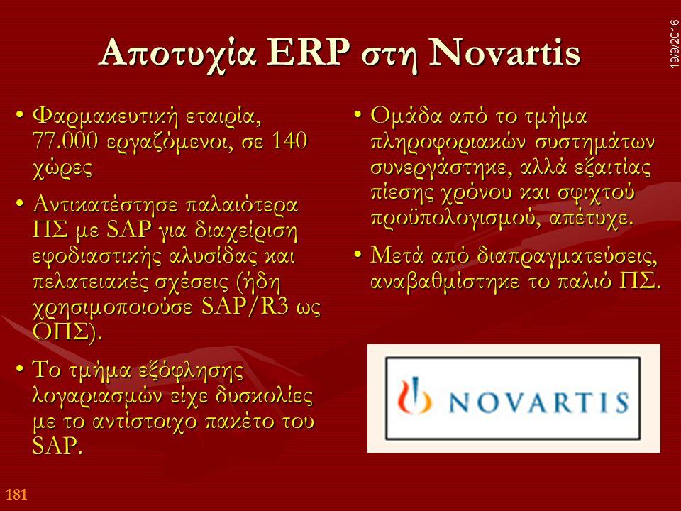 181 19/9/2016 Αποτυχία ERP στη Novartis Φαρμακευτική εταιρία, 77.000 εργαζόμενοι, σε 140 χώρεςΦαρμακευτική εταιρία, 77.000 εργαζόμενοι, σε 140 χώρες Αντικατέστησε παλαιότερα ΠΣ με SAP για διαχείριση εφοδιαστικής αλυσίδας και πελατειακές σχέσεις (ήδη χρησιμοποιούσε SAP/R3 ως ΟΠΣ).Αντικατέστησε παλαιότερα ΠΣ με SAP για διαχείριση εφοδιαστικής αλυσίδας και πελατειακές σχέσεις (ήδη χρησιμοποιούσε SAP/R3 ως ΟΠΣ).