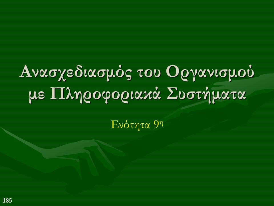 185 Ανασχεδιασμός του Οργανισμού με Πληροφοριακά Συστήματα Ενότητα 9 η