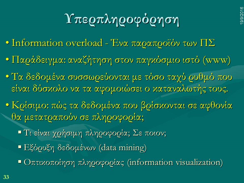 33 19/9/2016 Υπερπληροφόρηση Information overload - Ένα παραπροϊόν των ΠΣInformation overload - Ένα παραπροϊόν των ΠΣ Παράδειγμα: αναζήτηση στον παγκόσμιο ιστό (www)Παράδειγμα: αναζήτηση στον παγκόσμιο ιστό (www) Τα δεδομένα συσσωρεύονται με τόσο ταχύ ρυθμό που είναι δύσκολο να τα αφομοιώσει ο καταναλωτής τους.Τα δεδομένα συσσωρεύονται με τόσο ταχύ ρυθμό που είναι δύσκολο να τα αφομοιώσει ο καταναλωτής τους.