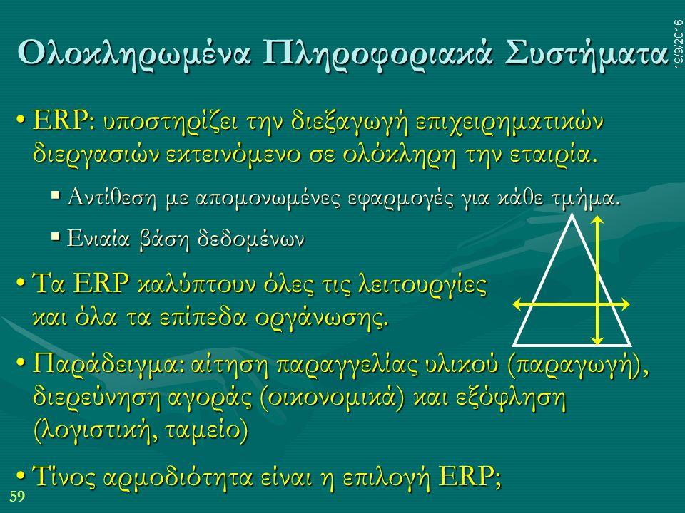59 19/9/2016 Ολοκληρωμένα Πληροφοριακά Συστήματα ERP: υποστηρίζει την διεξαγωγή επιχειρηματικών διεργασιών εκτεινόμενο σε ολόκληρη την εταιρία.ERP: υποστηρίζει την διεξαγωγή επιχειρηματικών διεργασιών εκτεινόμενο σε ολόκληρη την εταιρία.