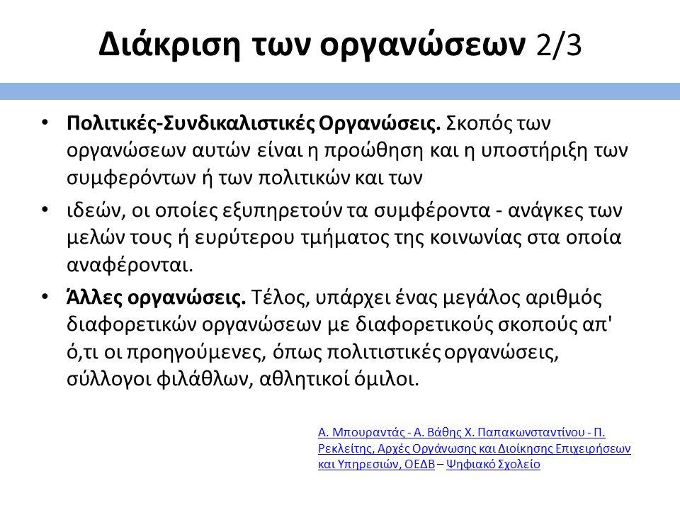 Διάκριση των οργανώσεων 2/3 Πολιτικές-Συνδικαλιστικές Οργανώσεις. Σκοπός των οργανώσεων αυτών είναι η προώθηση και η υποστήριξη των συμφερόντων ή των