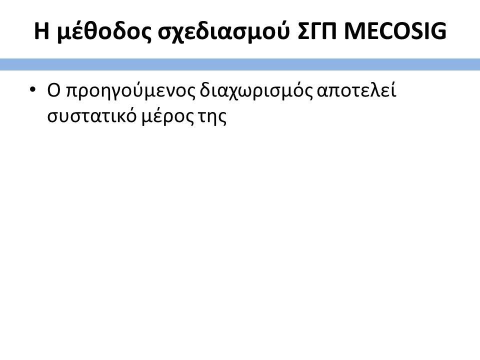 Η μέθοδος σχεδιασμού ΣΓΠ MECOSIG Ο προηγούμενος διαχωρισμός αποτελεί συστατικό μέρος της