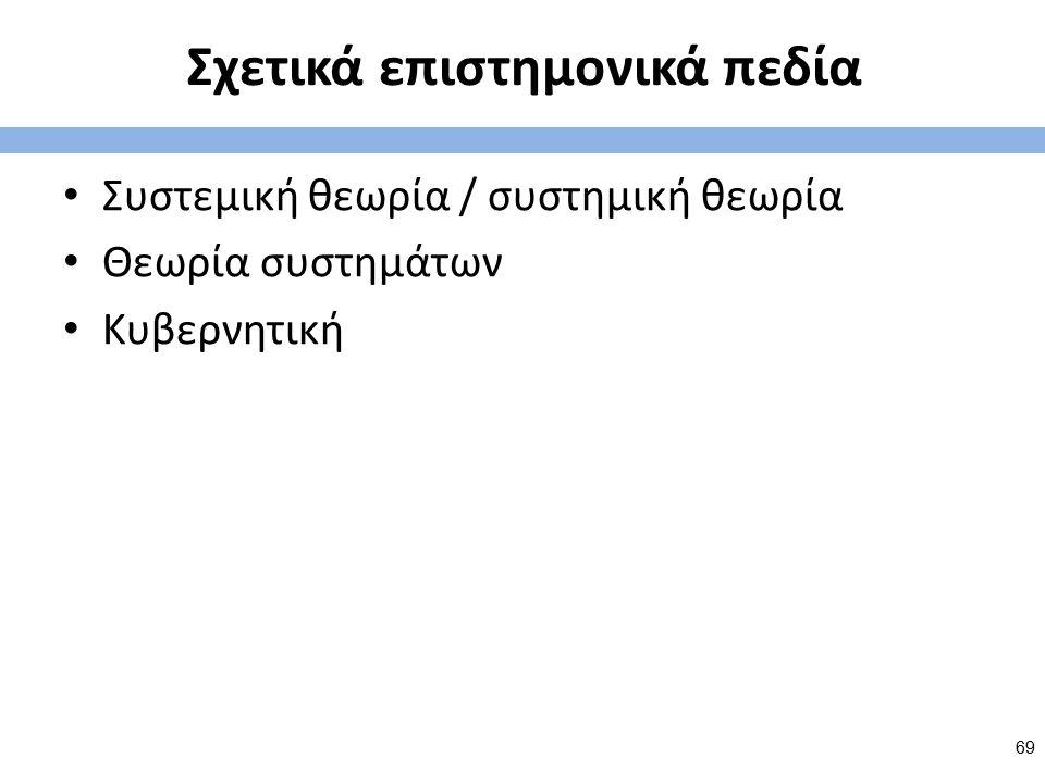 Σχετικά επιστημονικά πεδία Συστεμική θεωρία / συστημική θεωρία Θεωρία συστημάτων Κυβερνητική 69