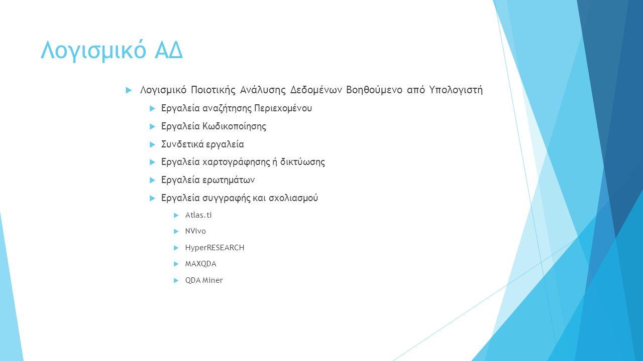 Λογισμικό ΑΔ  Λογισμικό Ποιοτικής Ανάλυσης Δεδομένων Βοηθούμενο από Υπολογιστή  Εργαλεία αναζήτησης Περιεχομένου  Εργαλεία Κωδικοποίησης  Συνδετικά εργαλεία  Εργαλεία χαρτογράφησης ή δικτύωσης  Εργαλεία ερωτημάτων  Εργαλεία συγγραφής και σχολιασμού  Atlas.ti  NVivo  HyperRESEARCH  MAXQDA  QDA Miner