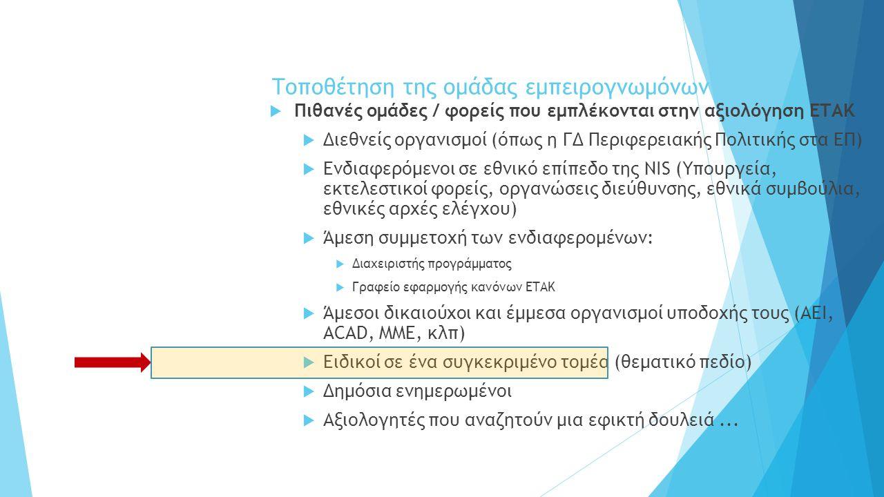 Τοποθέτηση της ομάδας εμπειρογνωμόνων  Πιθανές ομάδες / φορείς που εμπλέκονται στην αξιολόγηση ΕΤΑΚ  Διεθνείς οργανισμοί (όπως η ΓΔ Περιφερειακής Πολιτικής στα ΕΠ)  Ενδιαφερόμενοι σε εθνικό επίπεδο της NIS (Υπουργεία, εκτελεστικoί φορείς, οργανώσεις διεύθυνσης, εθνικά συμβούλια, εθνικές αρχές ελέγχου)  Άμεση συμμετοχή των ενδιαφερομένων:  Διαχειριστής προγράμματος  Γραφείο εφαρμογής κανόνων ΕΤΑΚ  Άμεσοι δικαιούχοι και έμμεσα οργανισμοί υποδοχής τους (ΑΕΙ, ACAD, ΜΜΕ, κλπ)  Ειδικοί σε ένα συγκεκριμένο τομέα (θεματικό πεδίο)  Δημόσια ενημερωμένοι  Αξιολογητές που αναζητούν μια εφικτή δουλειά...