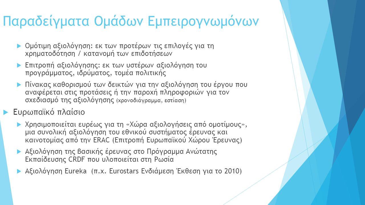 Παραδείγματα Ομάδων Εμπειρογνωμόνων  Ομότιμη αξιολόγηση: εκ των προτέρων τις επιλογές για τη χρηματοδότηση / κατανομή των επιδοτήσεων  Επιτροπή αξιο