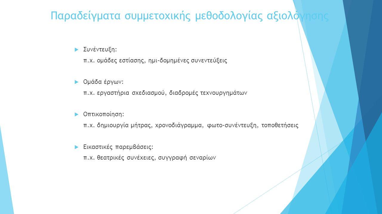 Παραδείγματα συμμετοχικής μεθοδολογίας αξιολόγησης  Συνέντευξη: π.χ.