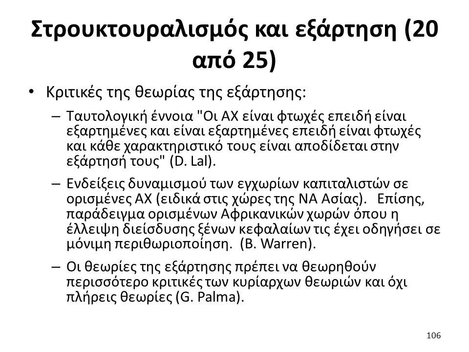 Στρουκτουραλισμός και εξάρτηση (20 από 25) Κριτικές της θεωρίας της εξάρτησης: – Ταυτολογική έννοια Οι ΑΧ είναι φτωχές επειδή είναι εξαρτημένες και είναι εξαρτημένες επειδή είναι φτωχές και κάθε χαρακτηριστικό τους είναι αποδίδεται στην εξάρτησή τους (D.