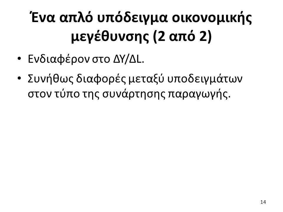 Ένα απλό υπόδειγμα οικονομικής μεγέθυνσης (2 από 2) Ενδιαφέρον στο ΔΥ/ΔL.