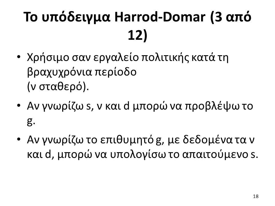 Το υπόδειγμα Harrod-Domar (3 από 12) Χρήσιμο σαν εργαλείο πολιτικής κατά τη βραχυχρόνια περίοδο (ν σταθερό).