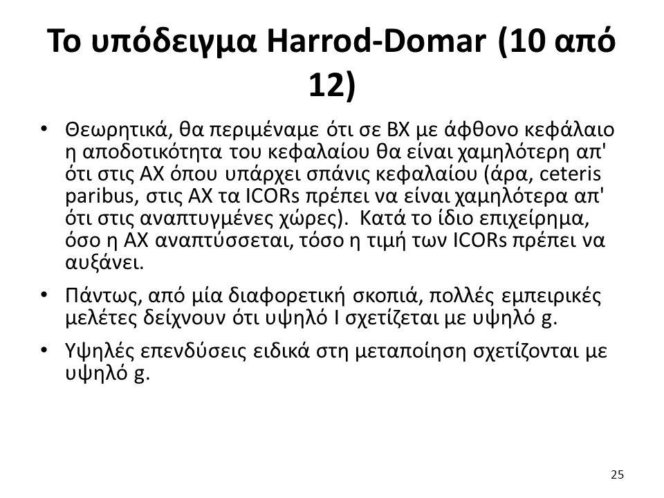 Το υπόδειγμα Harrod-Domar (10 από 12) Θεωρητικά, θα περιμέναμε ότι σε ΒΧ με άφθονο κεφάλαιο η αποδοτικότητα του κεφαλαίου θα είναι χαμηλότερη απ ότι στις ΑΧ όπου υπάρχει σπάνις κεφαλαίου (άρα, ceteris paribus, στις ΑΧ τα ICORs πρέπει να είναι χαμηλότερα απ ότι στις αναπτυγμένες χώρες).