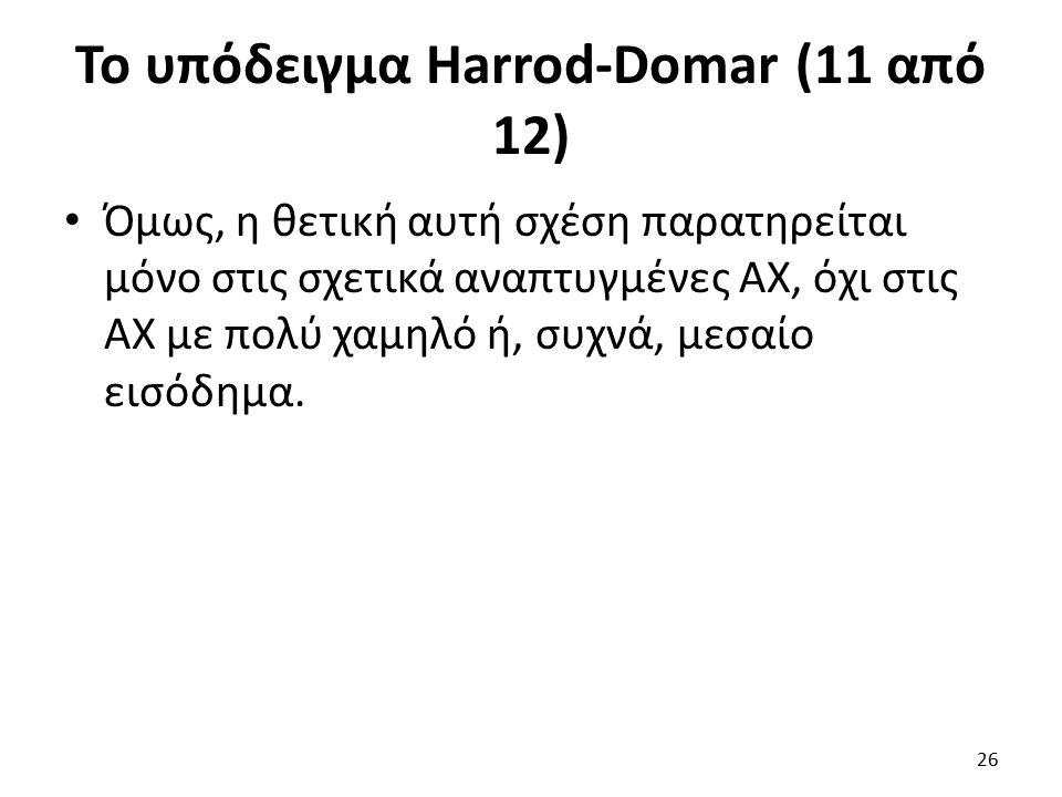 Το υπόδειγμα Harrod-Domar (11 από 12) Όμως, η θετική αυτή σχέση παρατηρείται μόνο στις σχετικά αναπτυγμένες ΑΧ, όχι στις ΑΧ με πολύ χαμηλό ή, συχνά, μεσαίο εισόδημα.