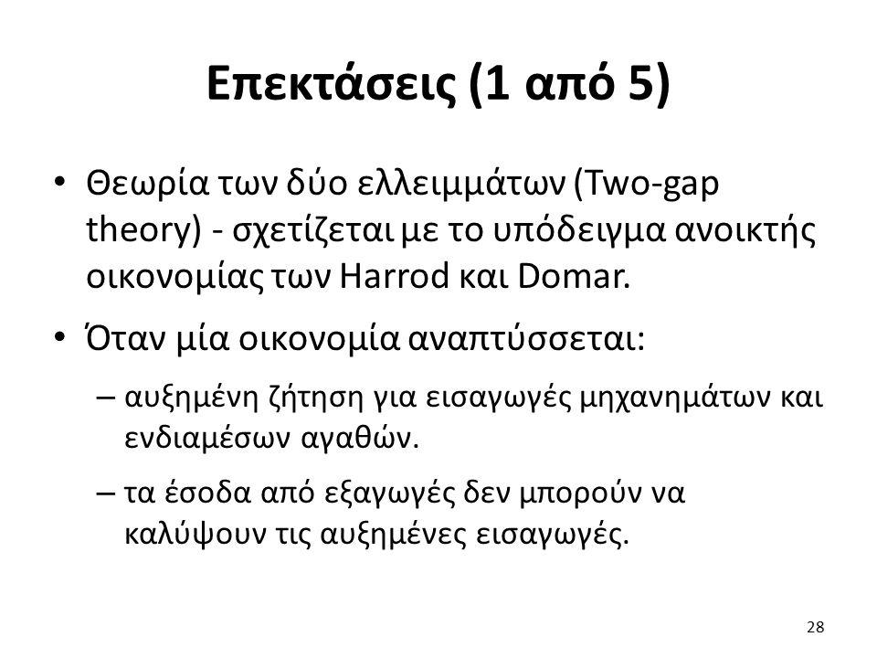 Επεκτάσεις (1 από 5) Θεωρία των δύο ελλειμμάτων (Two-gap theory) - σχετίζεται με το υπόδειγμα ανοικτής οικονομίας των Harrod και Domar.
