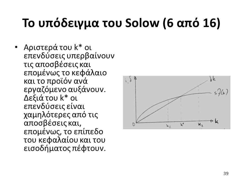 Το υπόδειγμα του Solow (6 από 16) Αριστερά του k* οι επενδύσεις υπερβαίνουν τις αποσβέσεις και επομένως το κεφάλαιο και το προϊόν ανά εργαζόμενο αυξάνουν.