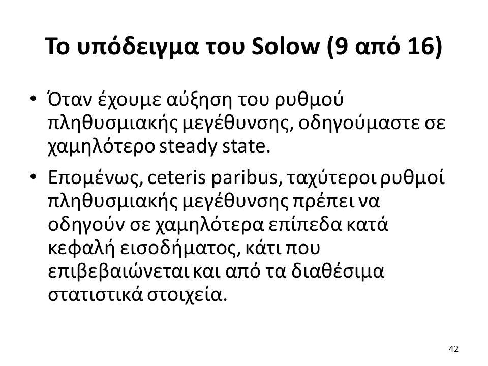Το υπόδειγμα του Solow (9 από 16) Όταν έχουμε αύξηση του ρυθμού πληθυσμιακής μεγέθυνσης, οδηγούμαστε σε χαμηλότερο steady state.