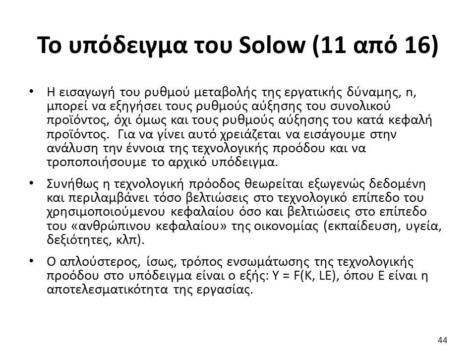 Το υπόδειγμα του Solow (11 από 16) Η εισαγωγή του ρυθμού μεταβολής της εργατικής δύναμης, n, μπορεί να εξηγήσει τους ρυθμούς αύξησης του συνολικού προϊόντος, όχι όμως και τους ρυθμούς αύξησης του κατά κεφαλή προϊόντος.