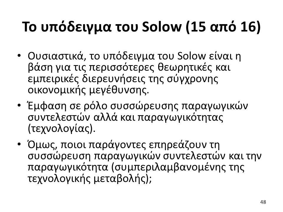 Το υπόδειγμα του Solow (15 από 16) Ουσιαστικά, το υπόδειγμα του Solow είναι η βάση για τις περισσότερες θεωρητικές και εμπειρικές διερευνήσεις της σύγχρονης οικονομικής μεγέθυνσης.