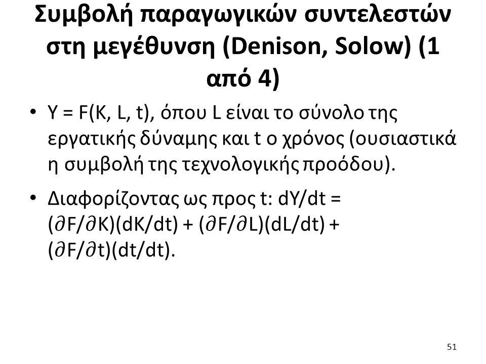 Συμβολή παραγωγικών συντελεστών στη μεγέθυνση (Denison, Solow) (1 από 4) 51